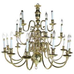 Large Vintage Brass Candelabra Chandelier