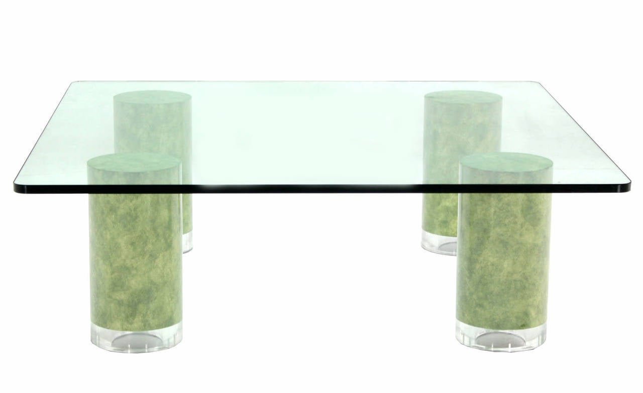 Huge Square Glass Top Coffee Table For Sale At 1stdibs