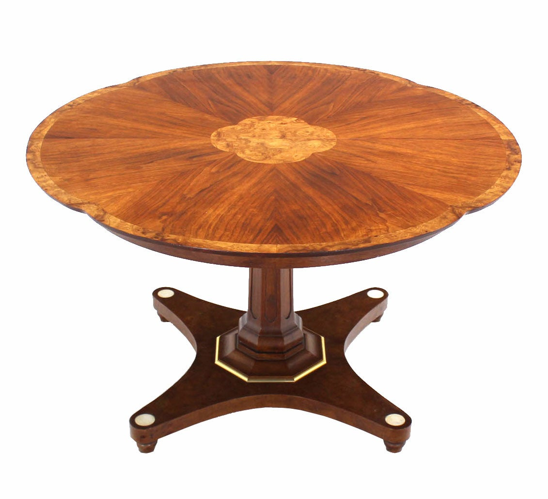 Burl wood inlay and walnut single pedestal dining table for Wood dining room table with leaf