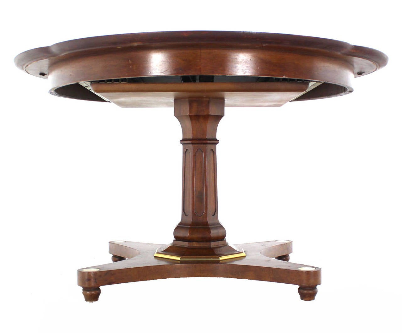 Burl Wood Inlay And Walnut Single Pedestal Dining Table