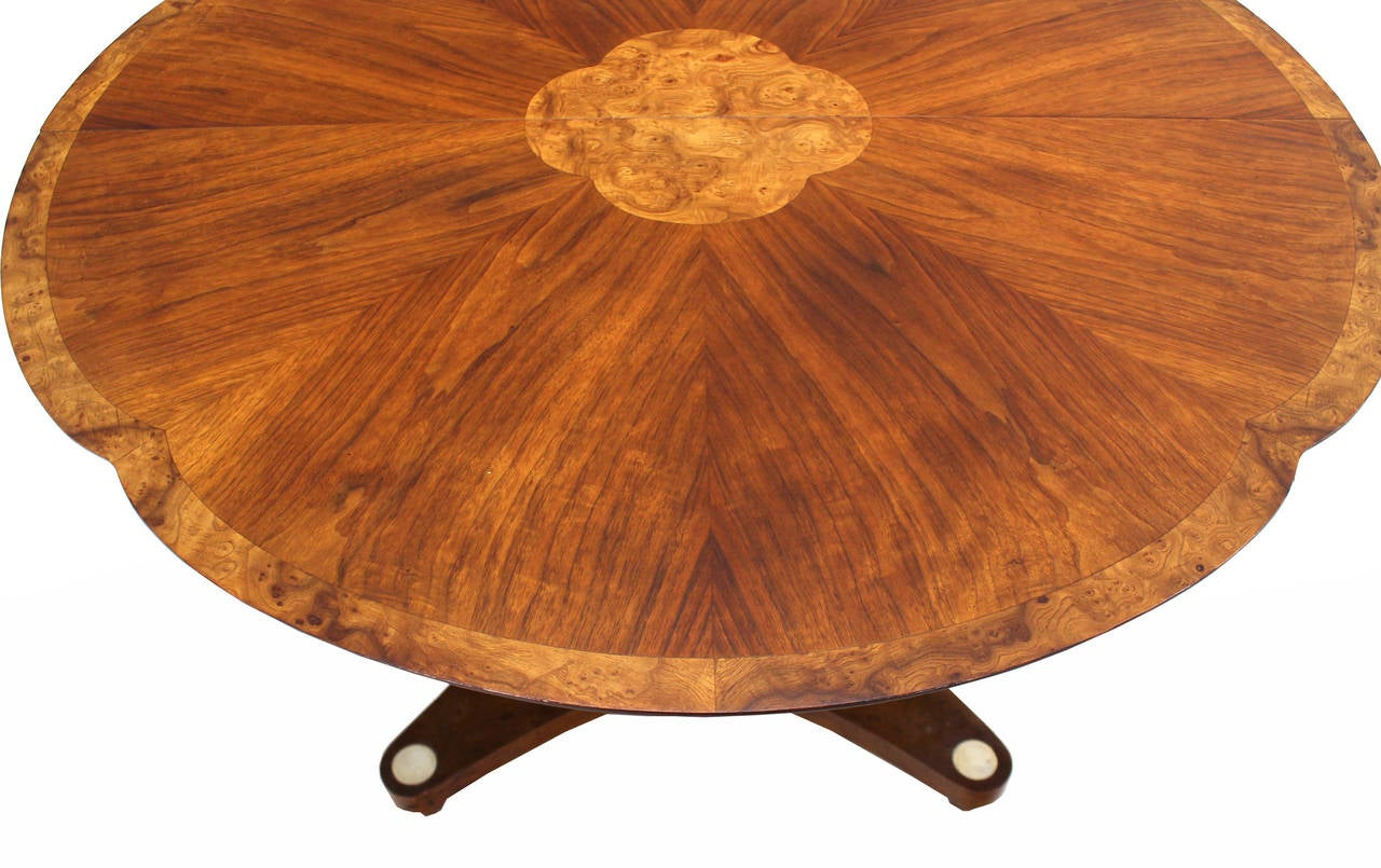 burl wood inlay and walnut single pedestal dining table with three