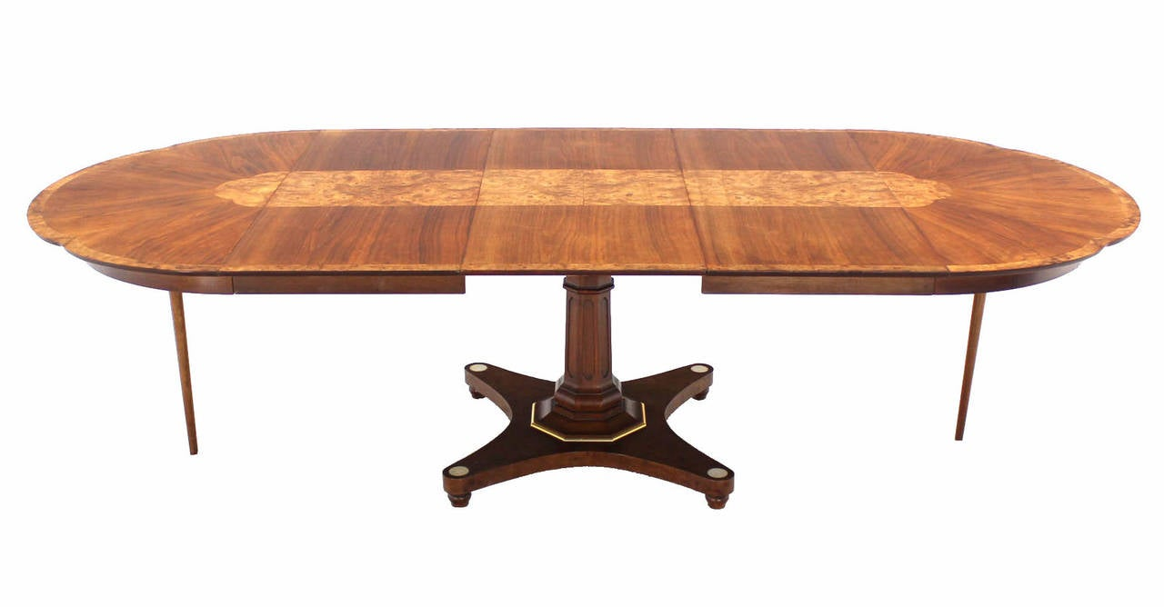 Burl Wood Inlay And Walnut SinglePedestal Dining Table With Three - Single pedestal rectangular dining table