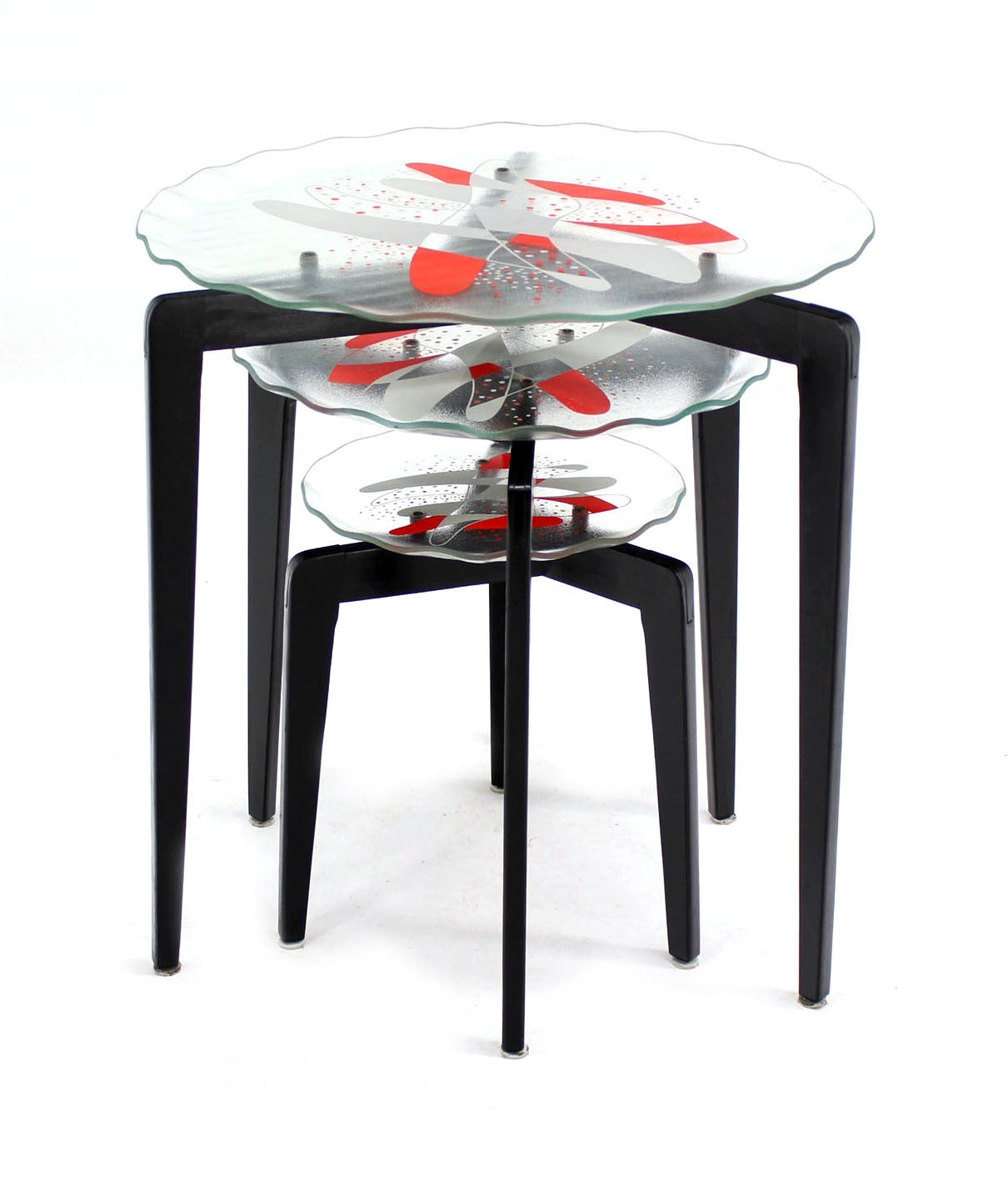 Stackable Nesting Tables ~ Art glass top scallop edge tapered leg stackable nesting