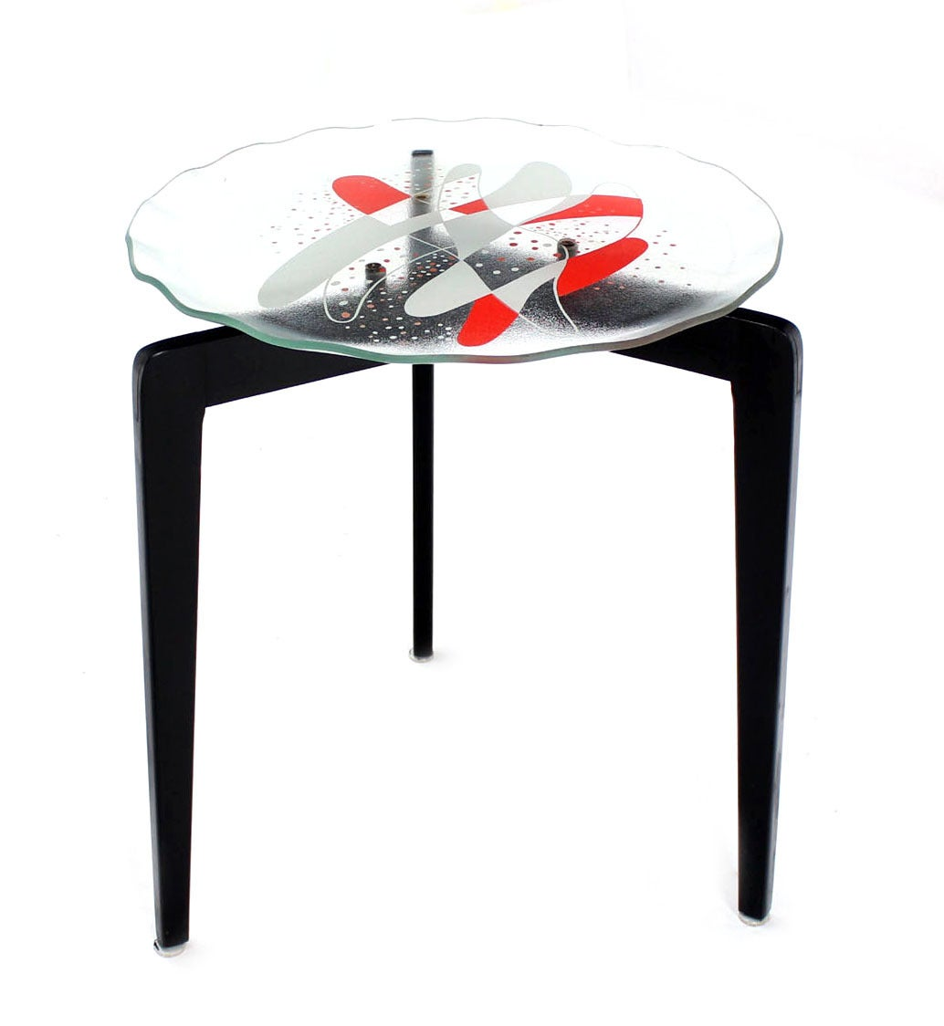 Art glass top scallop edge tapered leg stackable nesting for Glass top nesting tables