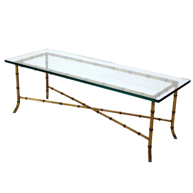 X Base Rectangular Mid Century Modern Gilt Faux Bamboo Glass Top Coffee  Table 1