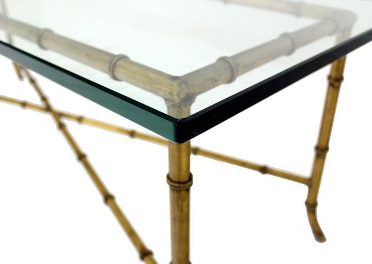 X Base Rectangular Mid Century Modern Gilt Faux Bamboo Glass Top Coffee  Table 5