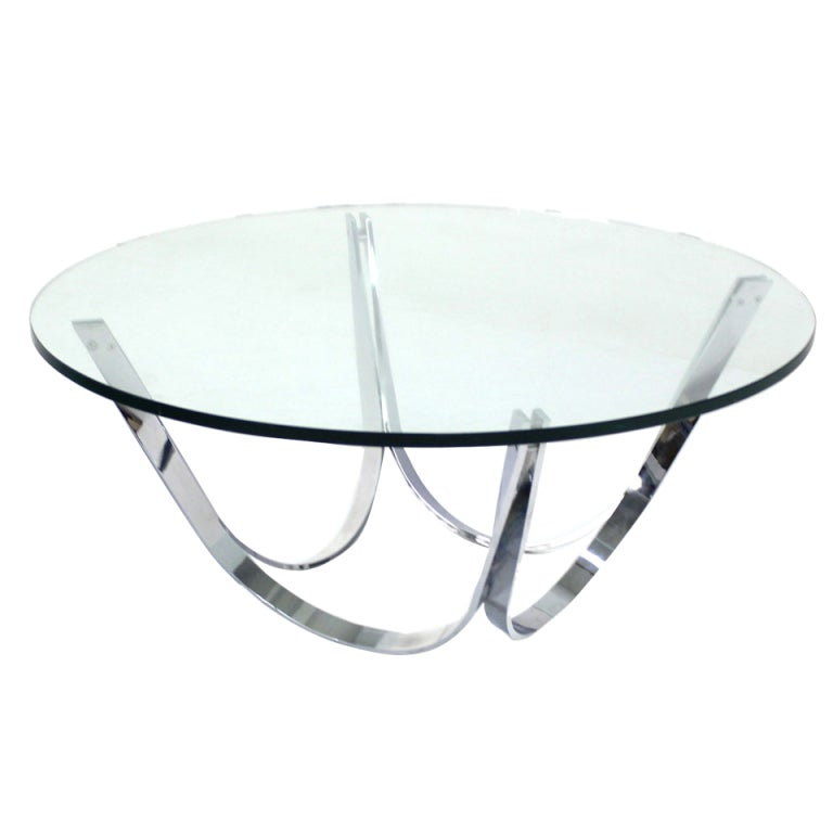 Roger sprunger for dunbar chrome and glass coffee table mid century modern at 1stdibs Glass contemporary coffee table