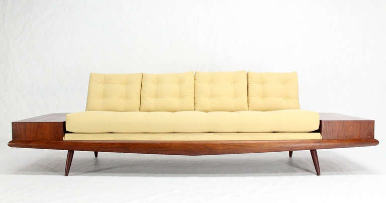 Adrian Pearsall Mid Century Modern Sofa With Walnut End
