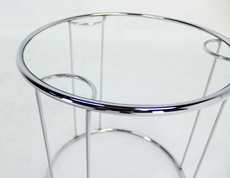 Set Of 3 Glass Tables: Set Of Three Round Chrome And Glass Nesting End Tables By
