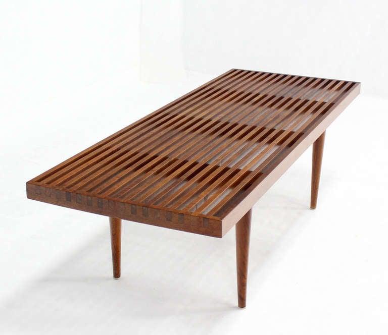Danish Mid Century Modern Slat Wood Walnut Bench At 1stdibs