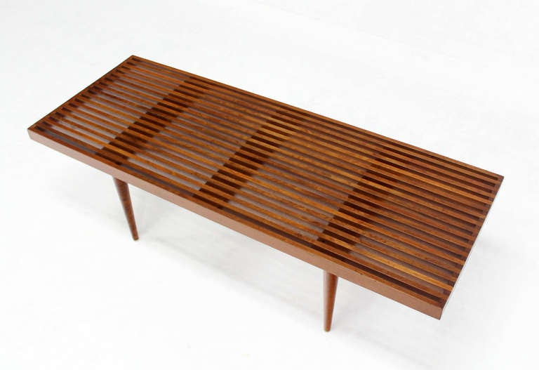 Good Mid Century Modern Slat Bench Part - 1: Danish Mid Century Modern Slat Wood Walnut Bench 3