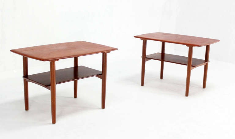 Pair of Mid-Century Danish Modern Teak End Tables by Povl Dinesen For Sale 4