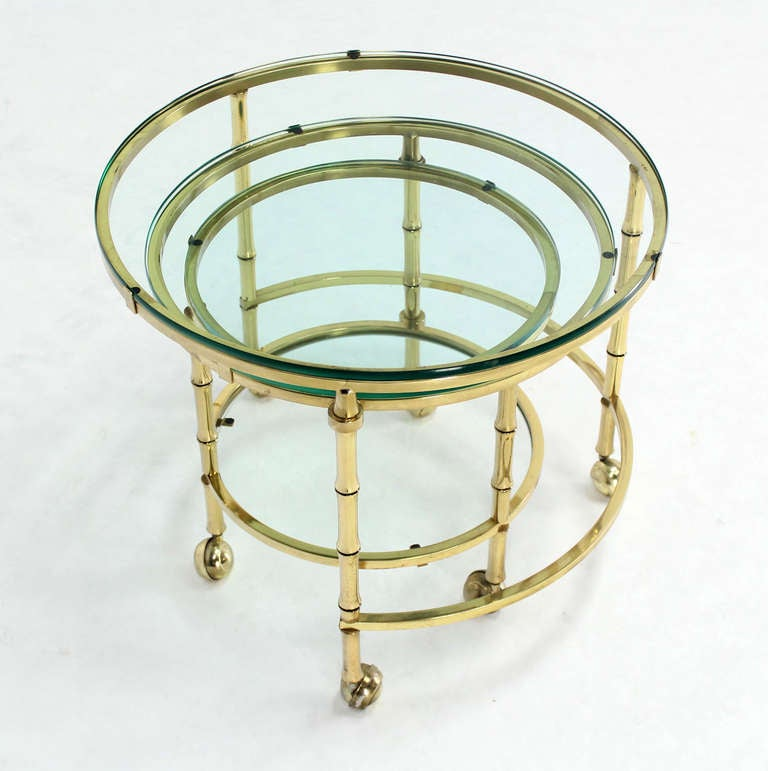 Solid Brass Faux Bamboo Expansion Nesting Tables For Sale 1