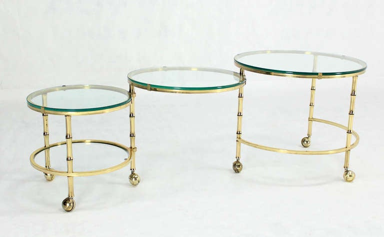 Solid Brass Faux Bamboo Expansion Nesting Tables For Sale 2