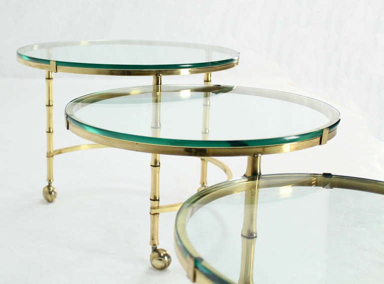Solid Brass Faux Bamboo Expansion Nesting Tables For Sale 3