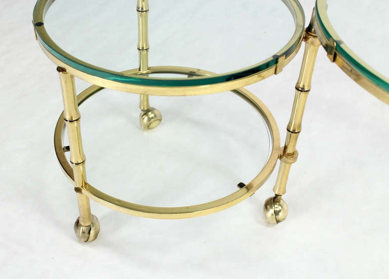 Mid-Century Modern Solid Brass Faux Bamboo Expansion Nesting Tables For Sale
