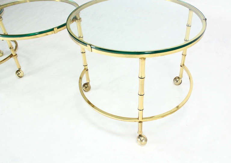 20th Century Solid Brass Faux Bamboo Expansion Nesting Tables For Sale