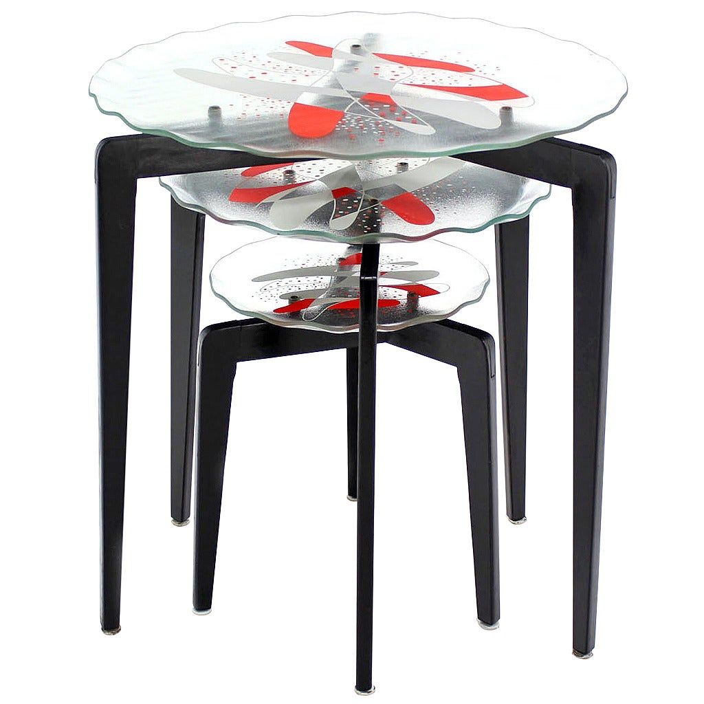 Glass Nesting Tables ~ Art glass top tapered leg stackable nesting side tables at