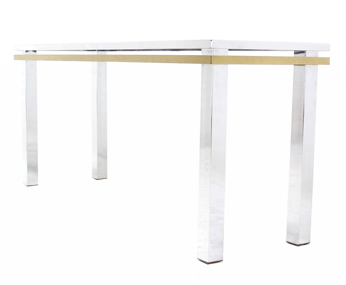 Chrome brass and glass mid century modern console table at 1stdibs