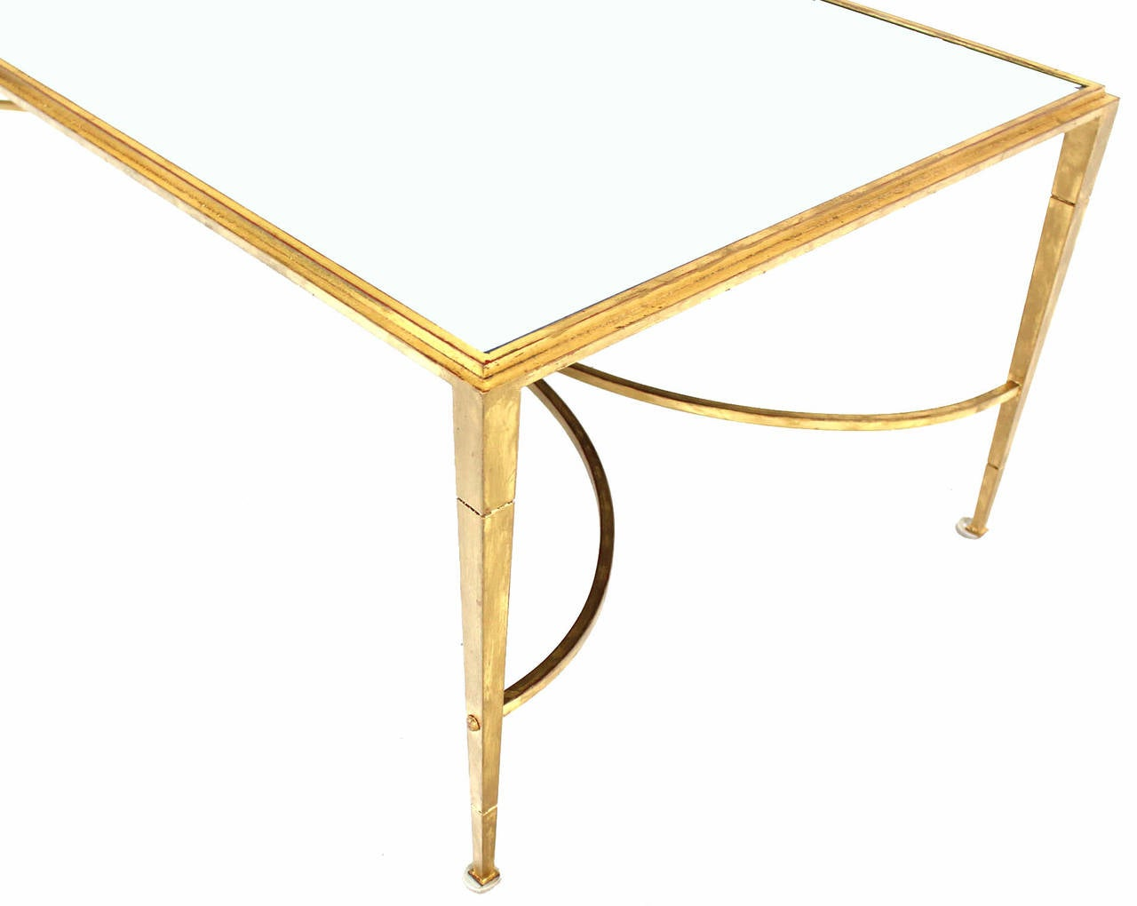 gold gilt maison jansen style coffee table with mirrored top and