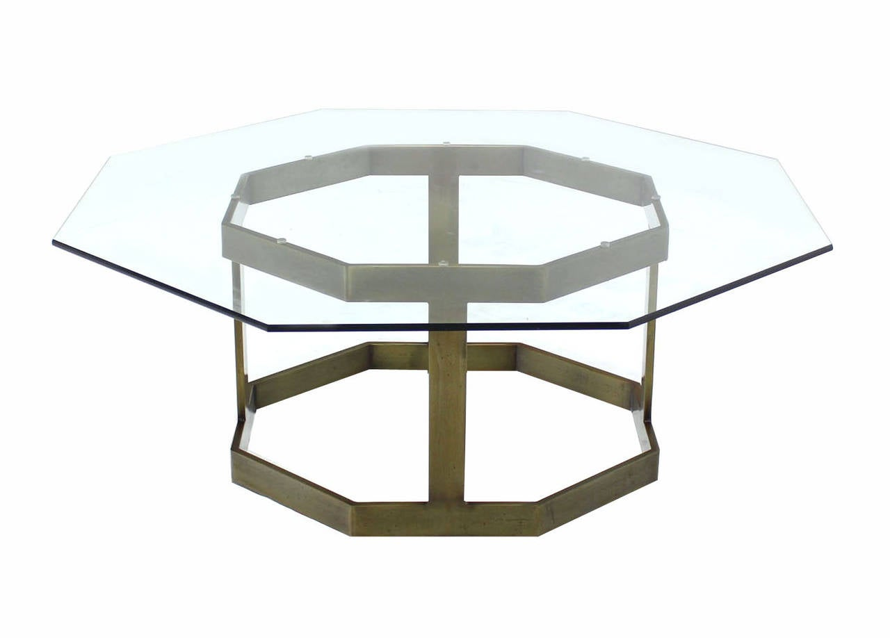 Octagonal brass base and glass top coffee table for sale for Octagon glass top coffee table