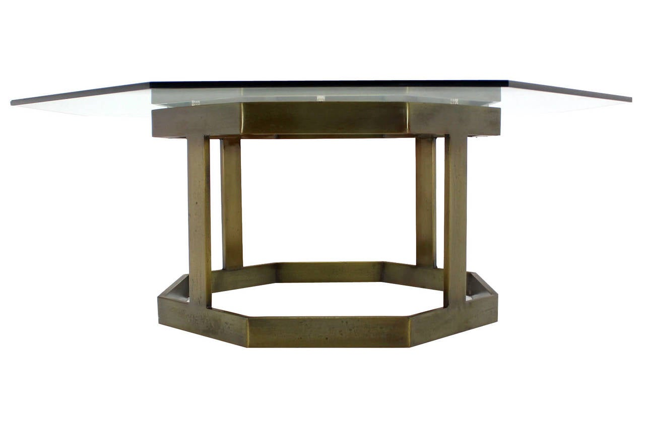 Octagonal Brass Base Glass Top Coffee Table At 1stdibs