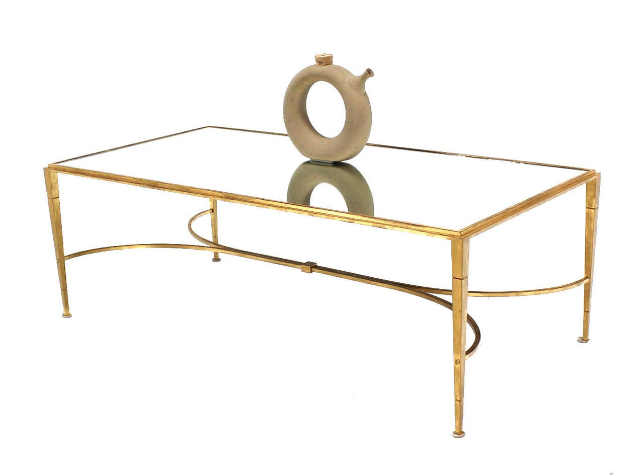gold gilt maison jansen style coffee table with mirrored