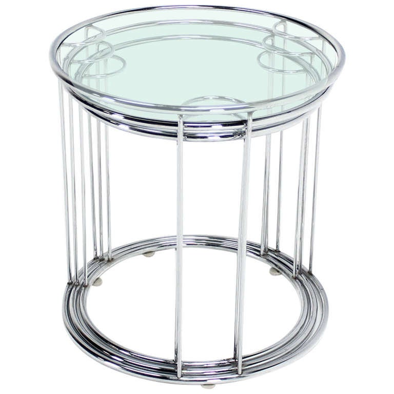 Set Of Three Round Chrome And Glass Nesting End Tables By
