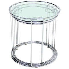 Set of Three Round Chrome and Glass Nesting End Tables by Baughman Decor