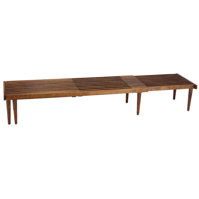 Expandable Danish Mid Century Modern Slat Bench At 1stdibs