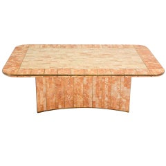 Maitland Smith Tessellated Stone Brass Mid Century Modern Rectangle Coffee Table
