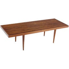 Danish Mid Century Modern Slat Wood Walnut Bench