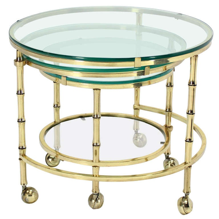 Solid Brass Faux Bamboo Expansion Nesting Tables
