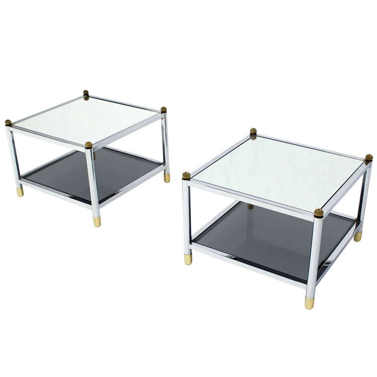 Pair of Square Chrome, Brass, Smoked Glass-Top End or Side Tables by Baughman
