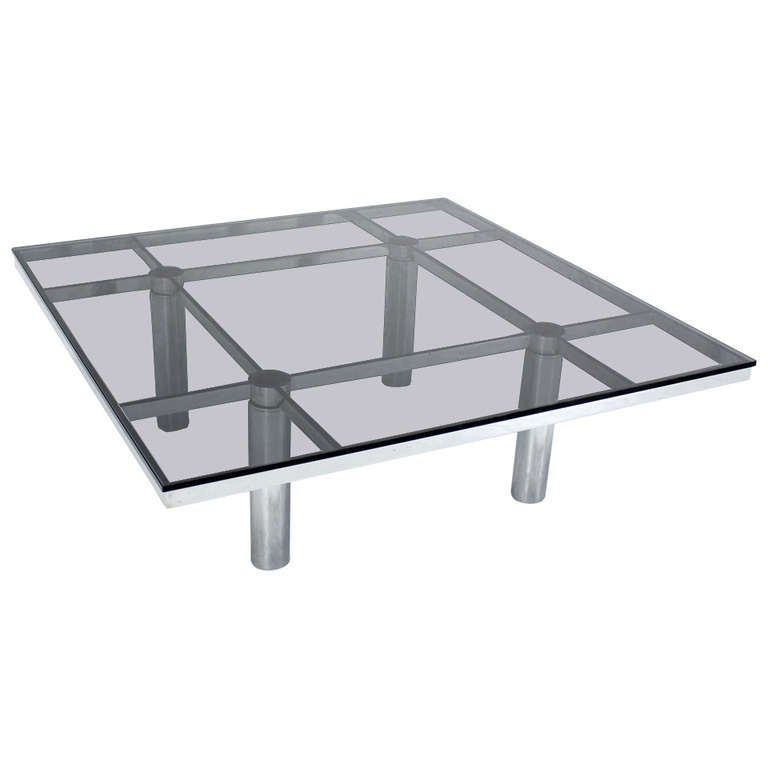 Tobia Scarpa For Knoll Square Chrome And Smoked Glass Coffee Table At 1stdibs