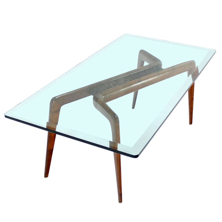 Walnut Base And Glass Top Mid Century Italian Modern Coffee Table At 1stdibs