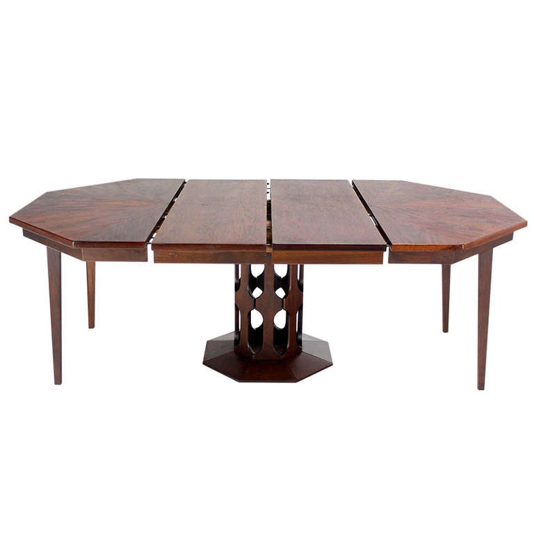 Oiled Walnut Octagonal, Two-Leaf Dining Table in the Style of ...