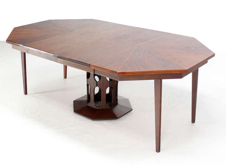 walnut octagonal two leaf dining table in the style