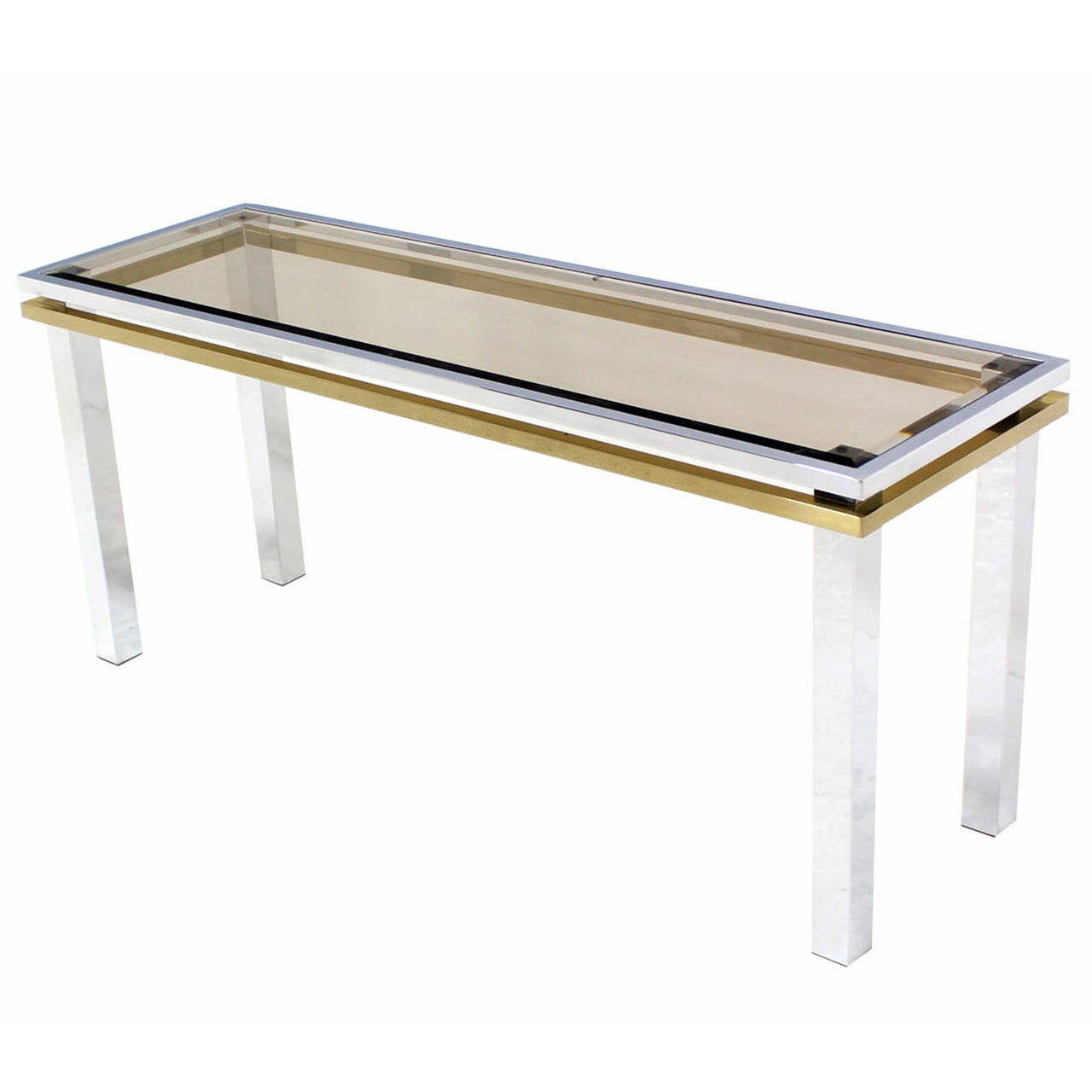 Chrome, Brass, And Glass Mid-Century Modern Console Table
