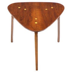 Triangle-Top and Bent Plywood-Leg Side Table by Dux
