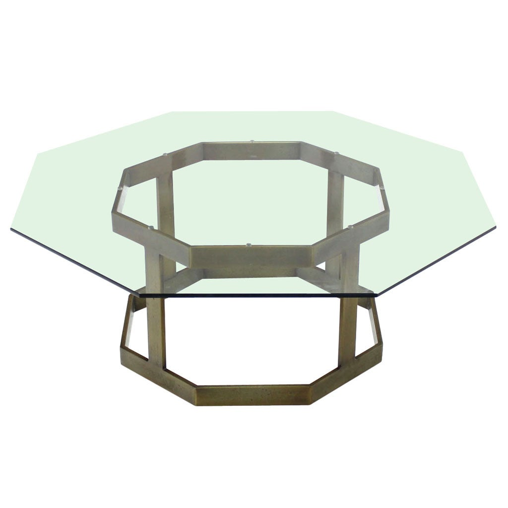 Octagonal Brass Base and Glass Top Coffee Table