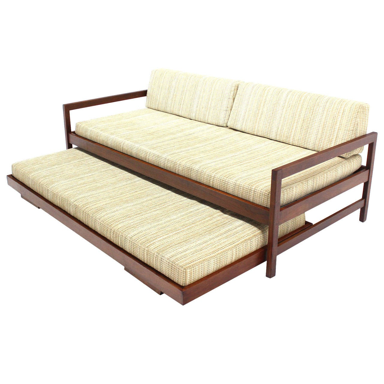 Solid Walnut Frame Mid Century Modern Trundle Pull Out Daybed For