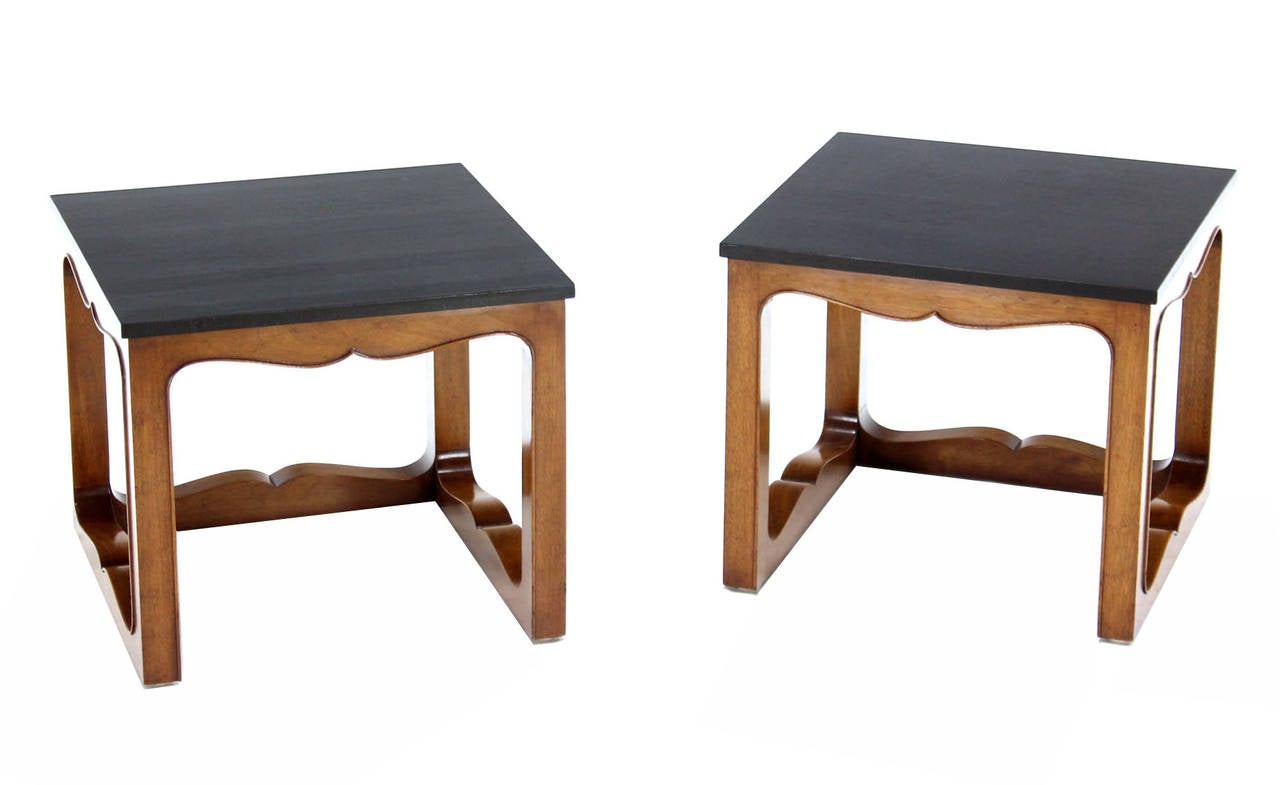 Pair of Mike Talor for Baker Square Cube Shape Side End Tables For Sale 1