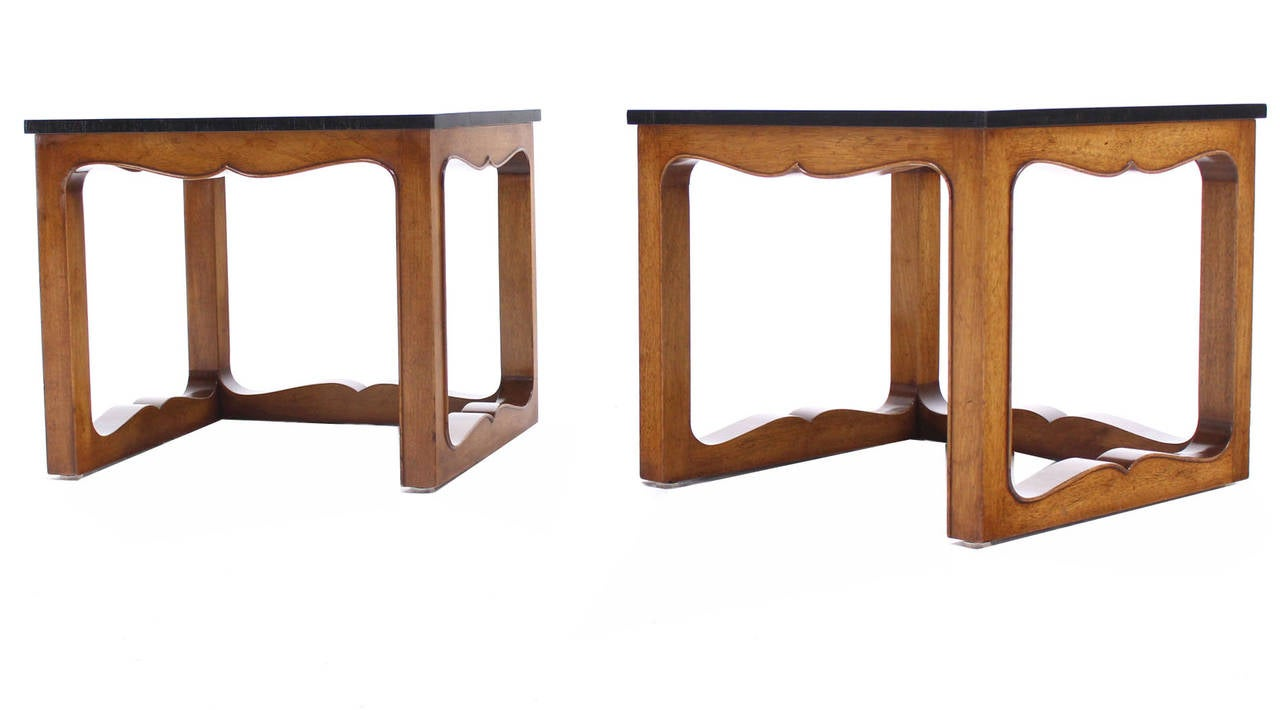 Pair of very nice mid century modern end tables by Baker. Excellent vintage  condition.