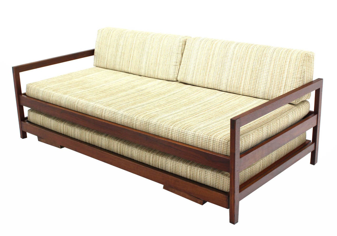 Solid Walnut Frame Mid-Century Modern Trundle, Pull-Out