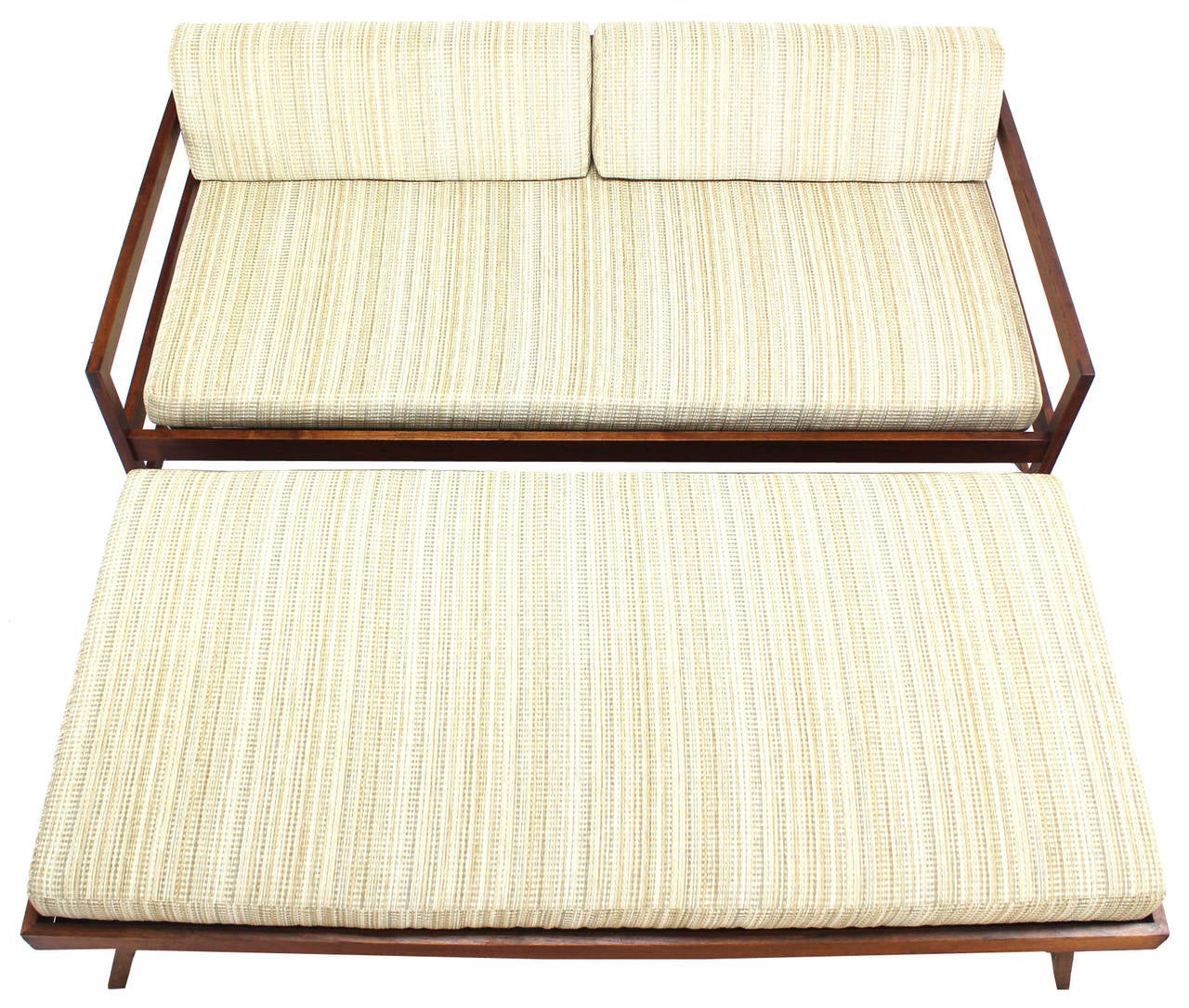 solid walnut frame midcentury modern trundle pullout daybed 2