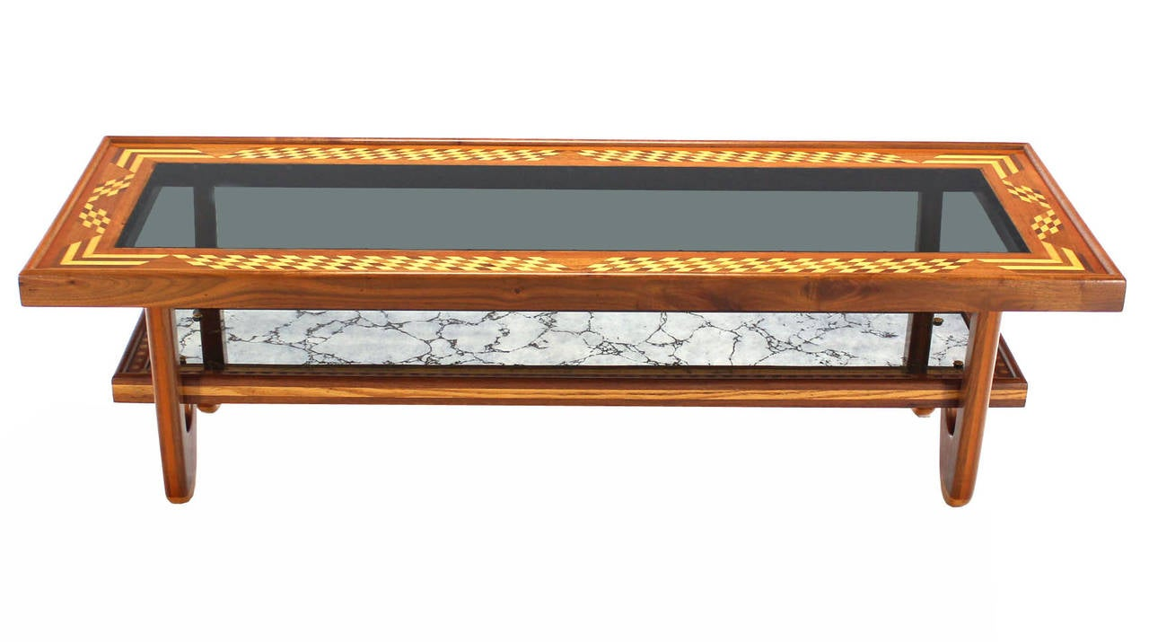 walnut glass top marquetry design long coffee table for With long coffee tables for sale