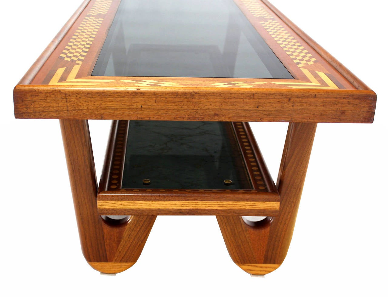 20th Century Walnut Smoked Glass Top Marquetry Design Long Coffee Table For Sale