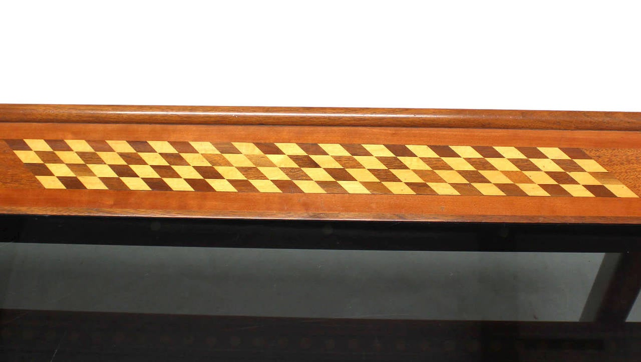 Lacquered Walnut Smoked Glass Top Marquetry Design Long Coffee Table For Sale