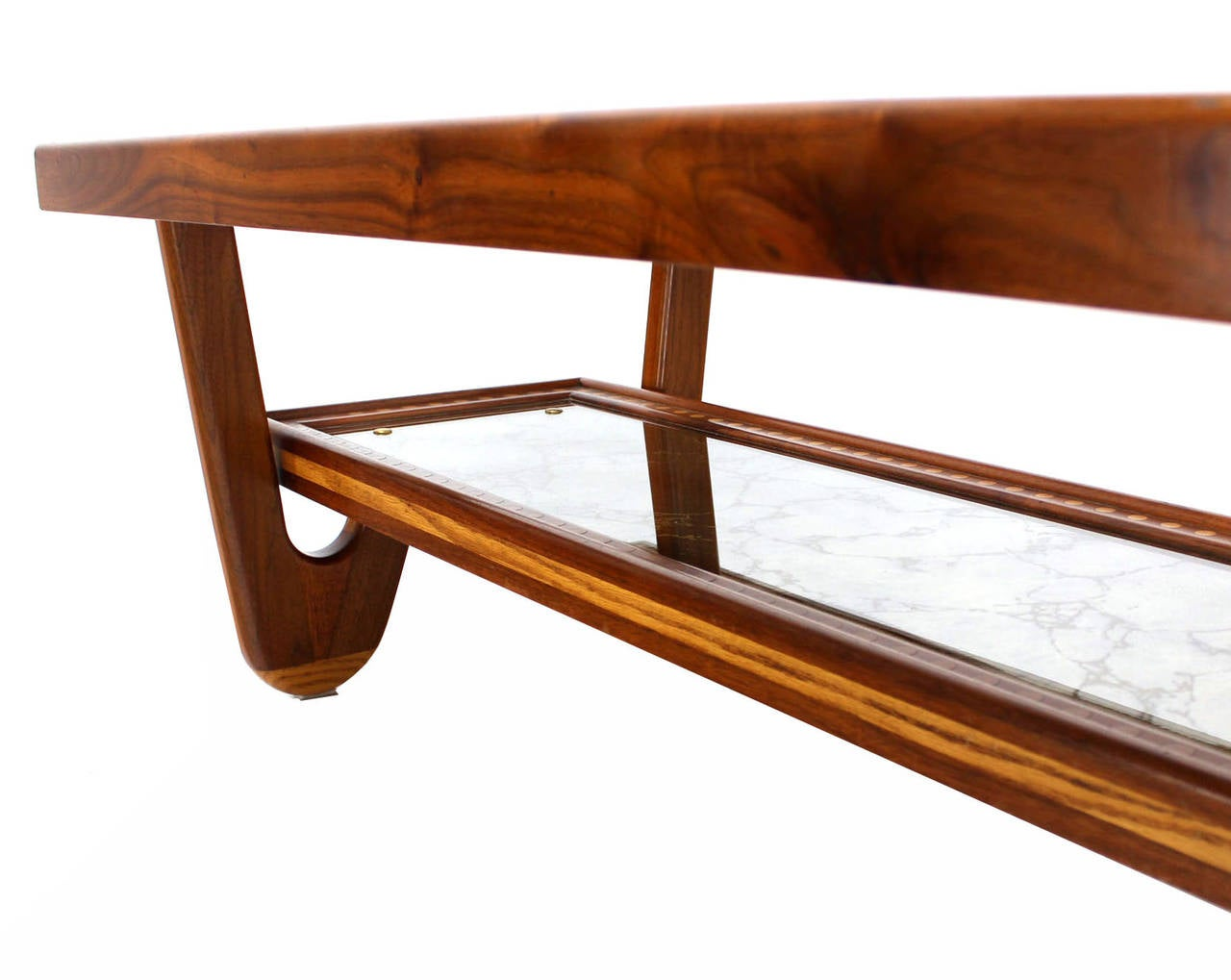 Walnut Smoked Glass Top Marquetry Design Long Coffee Table For Sale 1